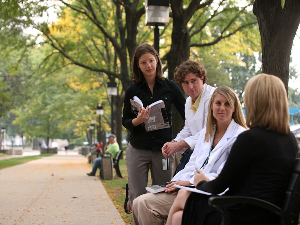 Students outside on Rush campus
